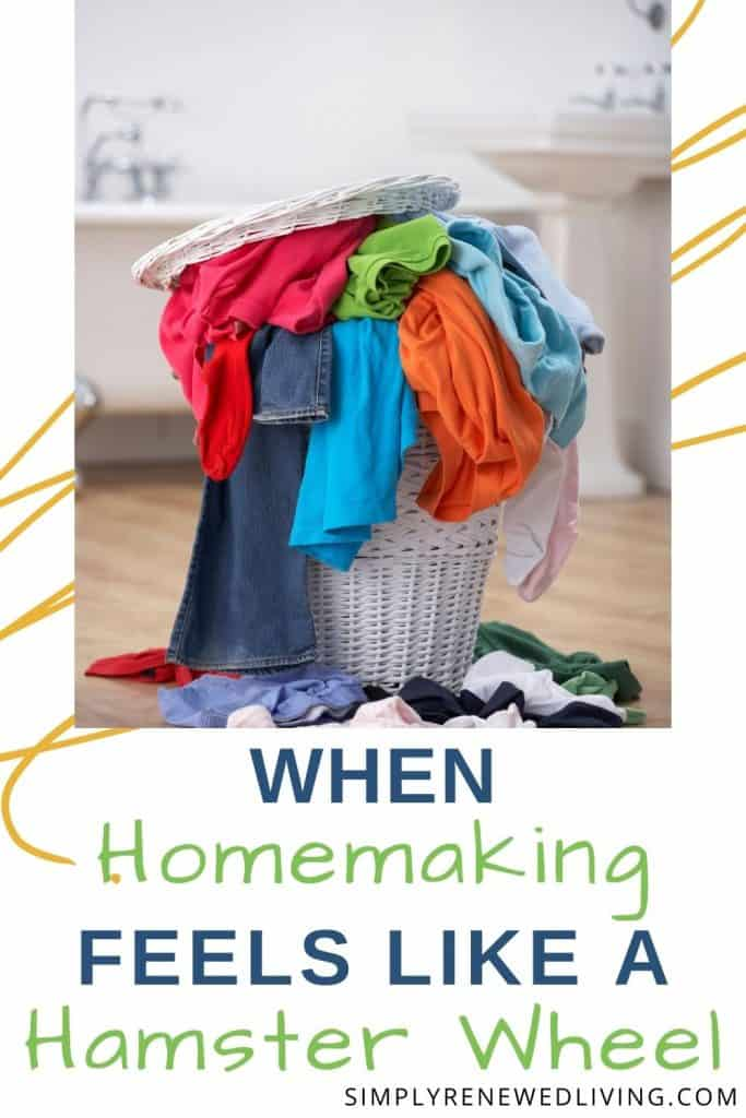homemaking overwhelm. overflowing laundry basket filled with dirty clothes